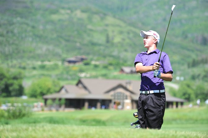 Connor Klein, of Lone Tree, takes a shot on No. 15 on Tuesday at the Haywhacker Junior Golf Championships at Haymaker Golf Course. Klein defeated Brennan Dolan, of Boulder, in a playoff.