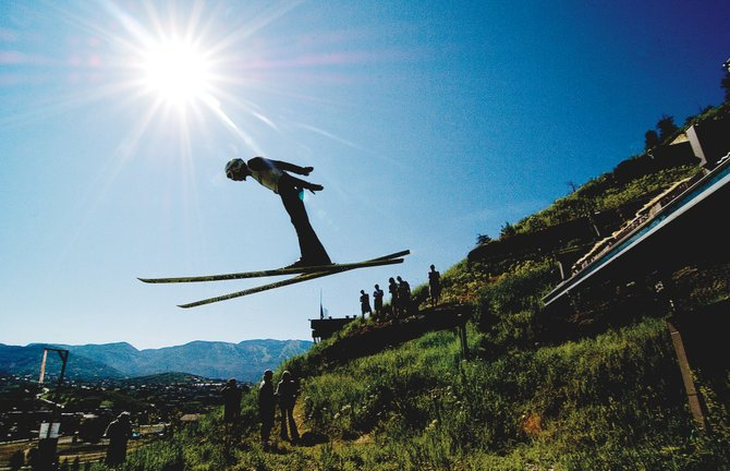 Ski jumper Hyrum Bailey soars off Howelsen Hill&#39;s plastic-covered K-68 jump Wednesday morning during a competition that included several members of the U.S. Nordic Combined Ski Team. Ski Corp. executive Andy Wirth confirmed today that Steamboat Springs will host Olympic Qualifiers for the U.S. Nordic Combined and Freestyle teams this December.