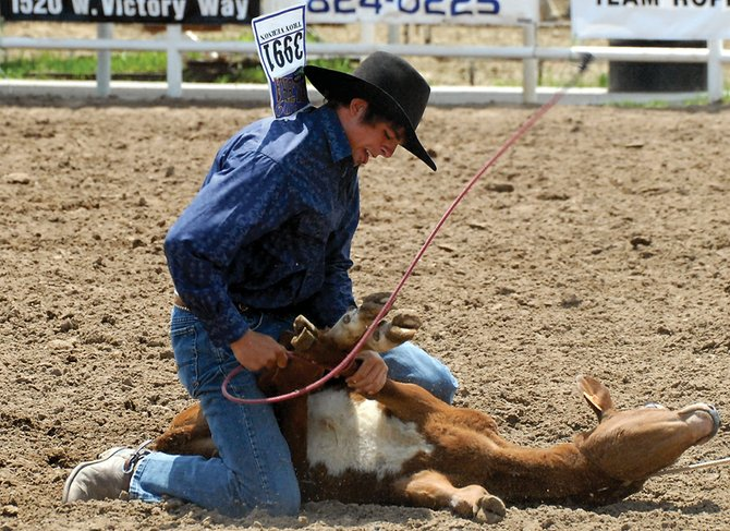 Troy Vernon competes Thursday in the Senior Boys Tie-Down Roping event during the first day of the Moffat County Little Britches Rodeo at the Moffat County Fairgrounds. The event will start every day at 9 a.m. until Sunday.