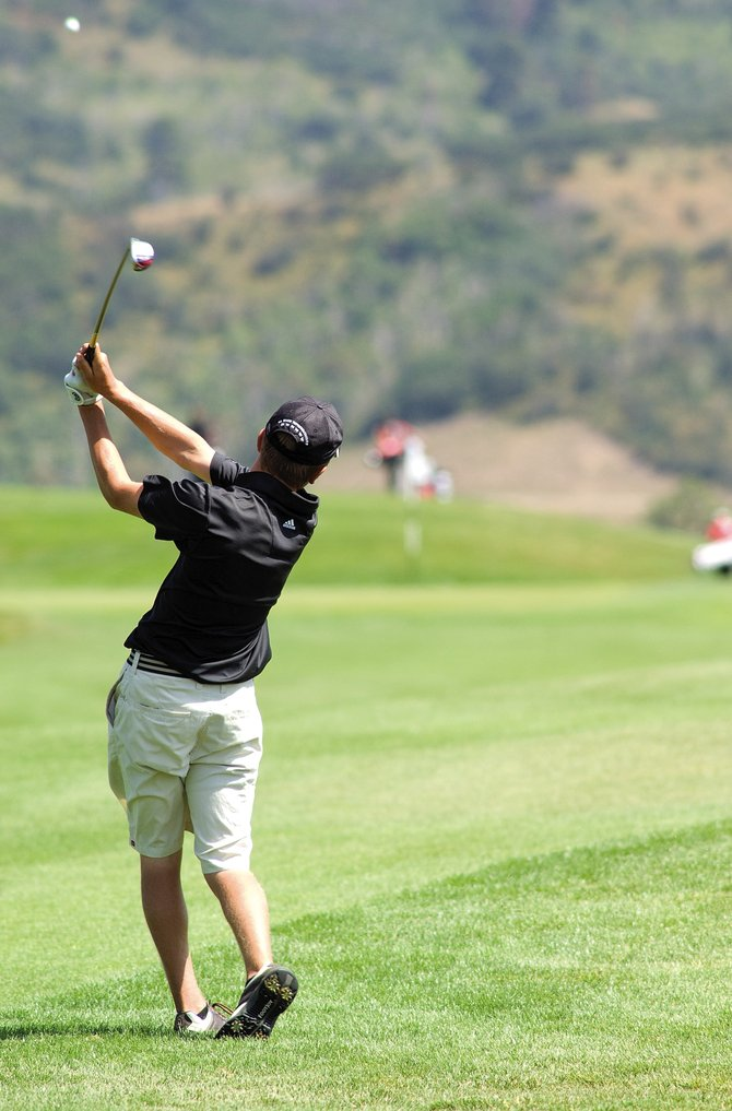 Steamboat Springs High School golfer Scott Ptach sends the ball toward the green at Haymaker Golf Course in September 2008. Ptach will help lead the Sailors as Haymaker hosts the Class 3A and 4A regional high school golf tournament this year Sept. 21 and 22.