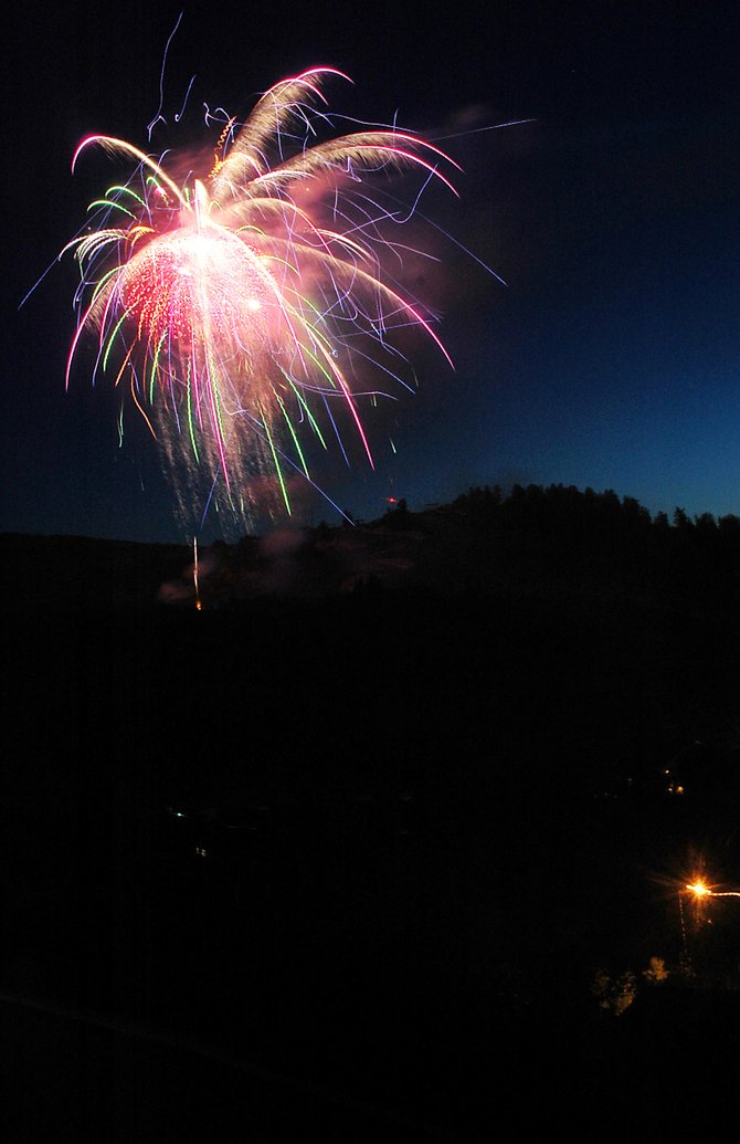 The weekend's fireworks started with a bang Friday night. A short show followed the first of the weekend's two Steamboat Springs Pro Rodeo Series events. A longer version is planned to follow tonight's rodeo performance. The booming should start a little after 9:15 p.m.