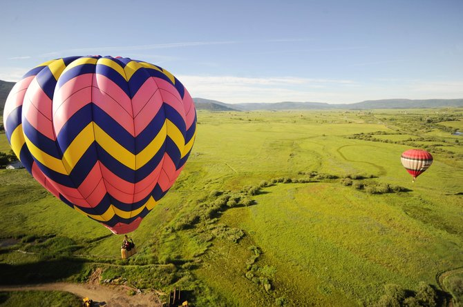 Balloons fly over the Yampa Valley.