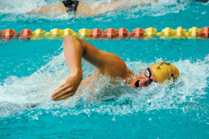 Blake Worsley, a 2005 Steamboat Springs High School graduate, tears through the pool for the University of Denver swimming and diving team in a November 2007 meet. Worsley qualified for the Canadian National Team at the Canadian World Championship Trials in Montreal.