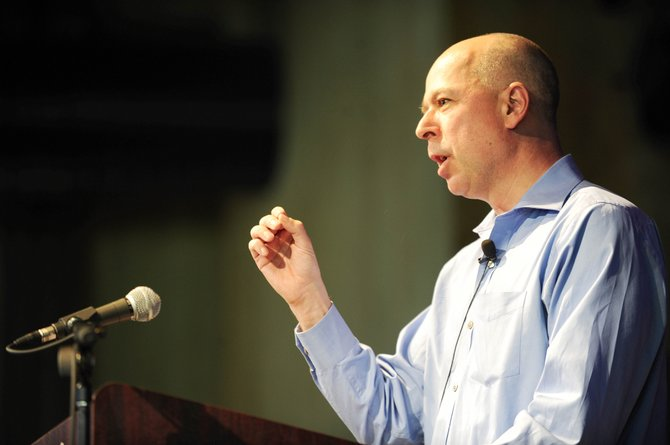 The New York Times Supreme Court reporter Adam Liptak talks Thursday evening during a Seminars at Steamboat presentation at Strings Music Pavilion.
