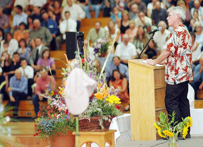 Kevin Copeland speaks Sunday at the memorial service for his wife, Ann Copeland. The service packed the Hayden High School gymnasium. Ann Copeland&#39;s friends, family and co-workers shared memories and stories about the life-long Hayden resident who died earlier this month in an ATV accident.