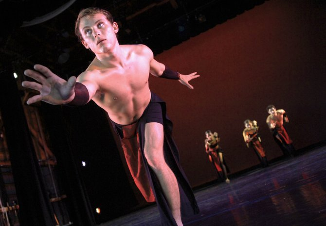 "Dancer Ryan Redmond rehearses a piece. His group will perform Friday and Saturday at ""Evening of Dance"" at Perry-Mansfield Performing Arts School and Camp."