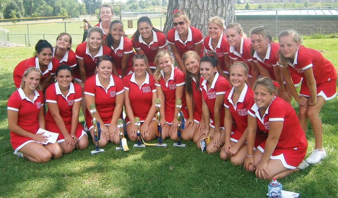 Members of the Steamboat Springs High School cheerleading team recently returned from a camp at Regis University where the varsity girls took first place in cheer and second in dance, and the junior varsity team took first in dance. The team includes, back row, from left, Brittany Salazar, Kaitlin McBride, Erin Duran, Corey Puffett, Alisha Repollo, Hannah Ramirez, Kate Rusk, Kendall Yeager, Marcie Norris, Hadlie Quick and Linnea Frank. In the front row, from left, are Genna Bradley, Brandi Salazar, Skyler Barry, Journee Heinert, Ally Wetzler, Catherine Fischer, Lyndsey Chea, Brittani Beckwith and Mary Mullen.