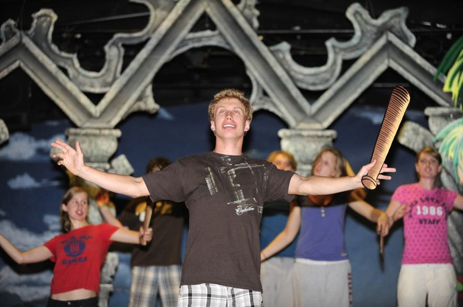 "Cody Poirot, of Steamboat Springs, rehearses with cast members of ""The Pirates of Penzance"" on Tuesday at Perry-Mansfield Performing Arts School and Camp. Performances of the play are at 8 p.m. Thursday through Saturday."