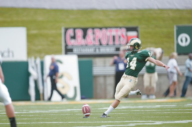 Former Steamboat Springs High School kicker Ben DeLine kicks off for Colorado State University last season against Sacramento State University. DeLine played in four games last year as a freshman and is expected to be the Rams' starting kicker this season.
