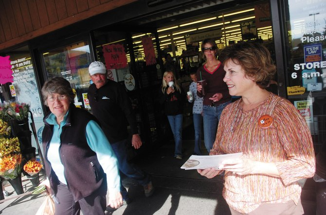 Steamboat Springs School Board Vice President Denise Connelly, right, campaigns in October 2008 for the renewal of the city's half-cent sales tax for education. This fall, Connelly will campaign for re-election to her School Board seat.