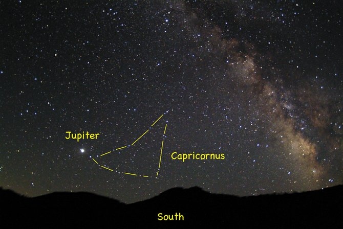 Spot Jupiter rising in the southeastern sky this month in the early evening, near the stars of Capricornus and just east of the Milky Way. 