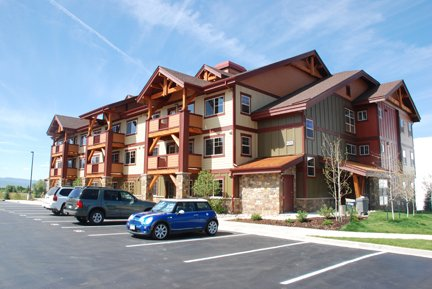 Although they were planned as deed-restricted affordable units, exterior materials at First Tracks were upgraded so that they would blend in to a high-end project at Wildhorse Meadows.