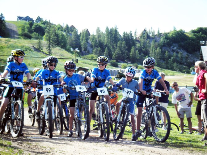 Riders in the development branch of the Steamboat Springs Winter Sports Club's mountain biking program wait to kick off from the starting line of a Town Challenge race earlier this summer. Development team members will travel with the squad Saturday for the first time this season for a Mountain States Cup event in Snowmass.