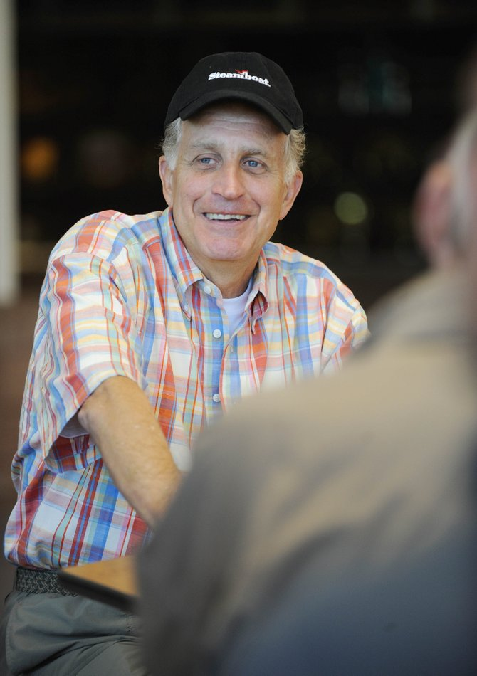 Former National Football League Commissioner Paul Tagliabue talks Wednesday morning at Steamboat Springs High School.