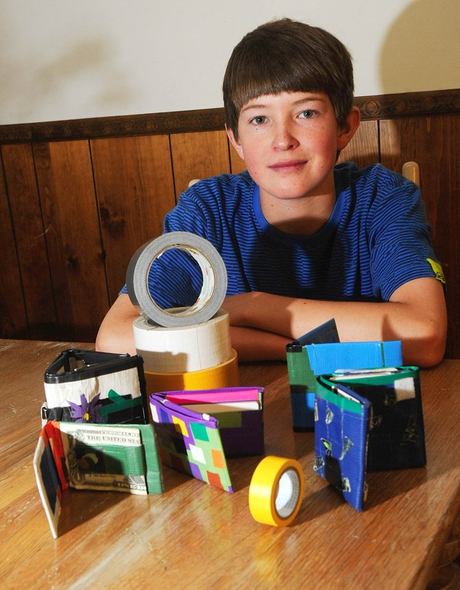 Fourteen-year-old Logan Banning, of Steamboat Springs, is selling wallets made of duct tape to raise money for a planned skatepark.