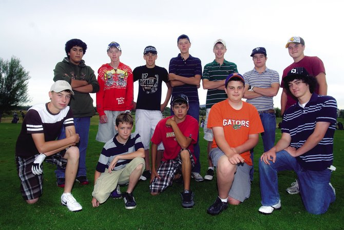 The Moffat County boys golf team features four golfers from each grade level. The team is, back row, from left, Michael Flores, Kyler Willbanks, Mark Dockstader, Alex McKey, Colby Haddan, Greg Blackstun and Trey Jourgensen; and front row, from left, Garrett Buckley, Gunner Pickering, Ty DeGuelle, Wes Whiffen, Eli Voyich. Not pictured: Taylor Branstetter, Parker King, Ethan O'Mailia and Zac Ahlmer.