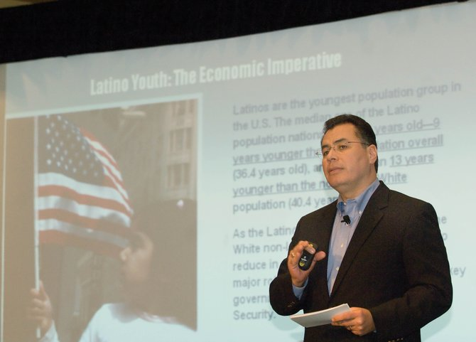 Mario Carrera, vice president and general manger of Entravision Communications Corp., speaks at the 2009 inaugural Freedom Conference on Friday at the Steamboat Grand Resort Hotel. Carrera joined Marcelo Gaete, vice president of public and governmental affairs of Entravision Communications, to provide an analysis of the 2008 elections and future Hispanic trends.