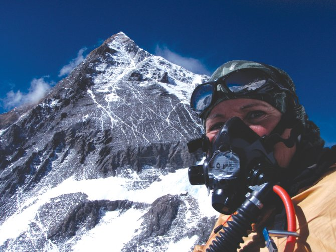 Lori Schneider stands on the slopes of Mount Everest in May. Schneider, a former Steamboat Springs teacher, traveled the world to climb the Seven Summits, the highest mountain on each continent, despite being diagnosed with Multiple Sclerosis 10 years ago. She summited Mount Everest on May 23, finishing her Seven Summits quest.