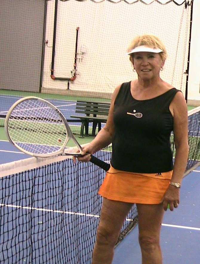 JoAnn Lathrop, 70, and local teammates are competing today in the USTA Super Senior League district finals in Denver. Lathrop also has competed or will be competing at the district level in adult league and senior league tennis this year.