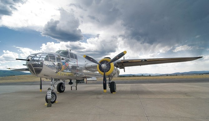 The Pacific Prowler, a North American B-25 Mitchell Bomber, sits on the tarmac at the Steamboat Springs Airport on Thursday afternoon. The plane flew in earlier this week to be a part of the Labor Day Wild West Air Fest.