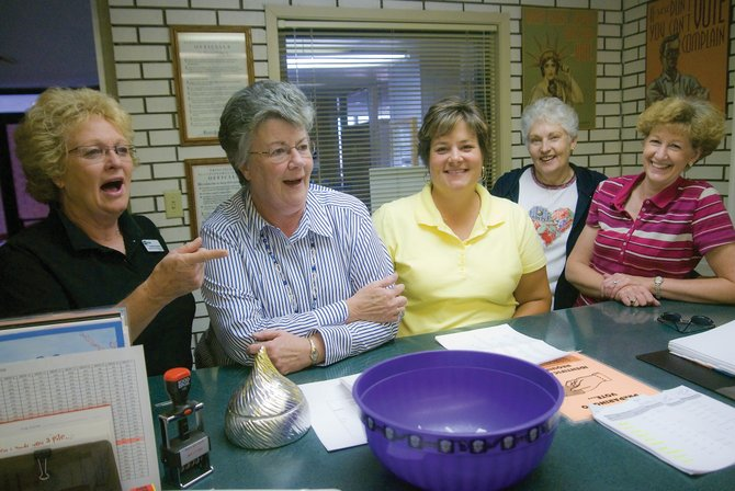 Moffat County and city of Craig employees count on Friday the money raised so far in Moffat County United Way's annual fundraising campaign. The city and county employees, pacesetters for this year's main campaign, raised $45,600. From left are Audrey Danner, Kathy Larson, Jennifer Riley, Shirley Seely and Linda DeRose.