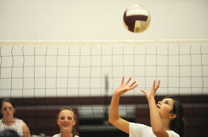 Soroco High School junior Ceanna Rossi sets the ball during practice Thursday.