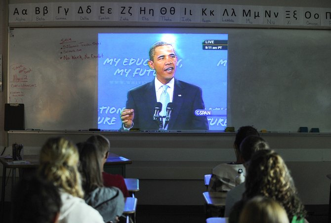 Students in Deirdre Boyd's AP American history class at Steamboat Springs High School watch President Barack Obama's speech to America's schoolchildren Tuesday.