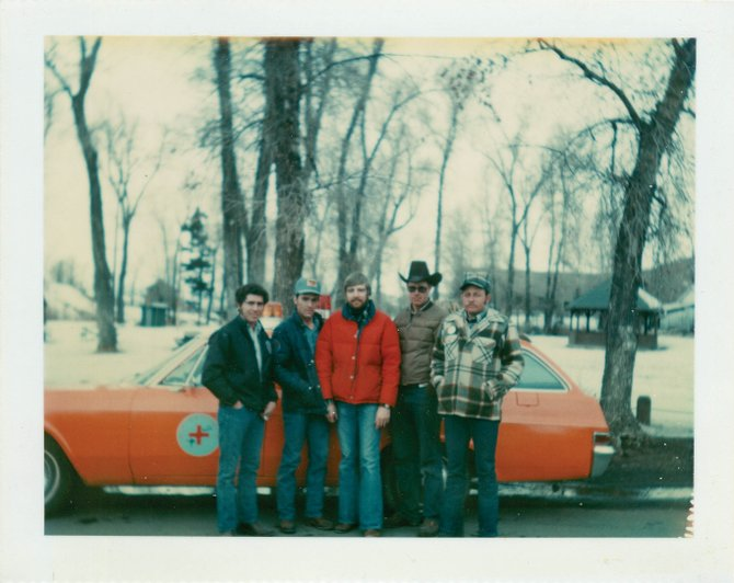 Early Routt County Search and Rescue members, from right, Jim Hicks, Chuck Vale, Richard Williams, Kirby Duncan and Wayne Weber, stand in front of one of the organization's first vehicles at Little Toots Park. The vehicle was painted by Marc Satre, one of the founding members. The photo was taken shortly after the Dec. 4, 1978, Rocky Mountain Airways plane crash rescue.