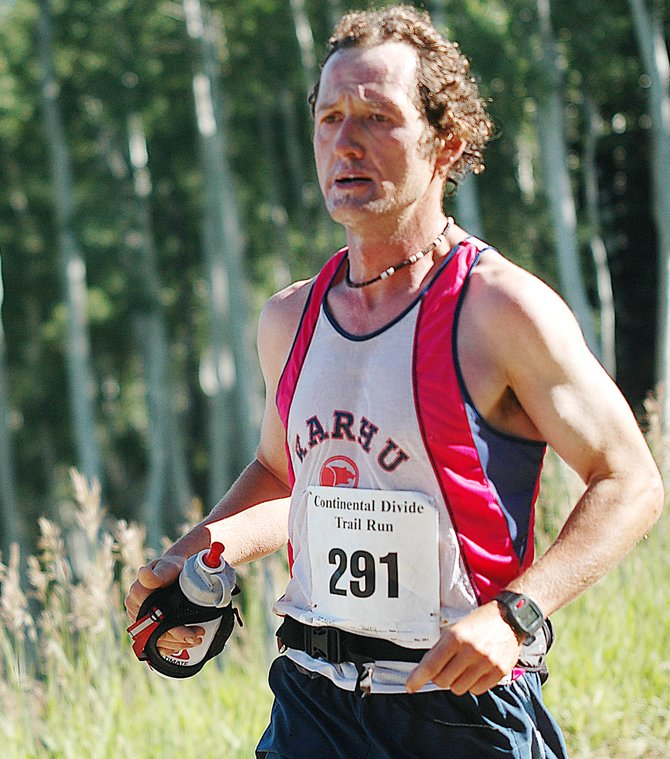 Steamboat Springs runner Harry Niedl charges toward the finish line of the grueling Continental Divide Trail Run Steamboat Springs Running Series race last month. Niedl is in position to win the men's season-long points championship.