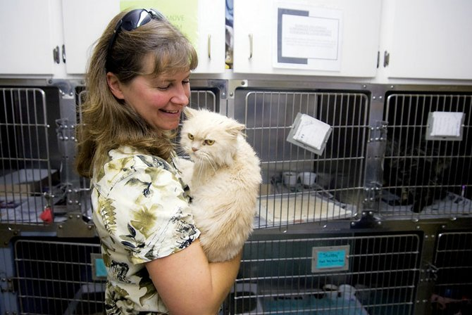 Wanda Brown holds Zelda on Saturday at the Humane Society of Moffat County's pet adoption day at the Craig Animal Shelter. Potential adopters were able to see the animals and take one home at a reduced rate.