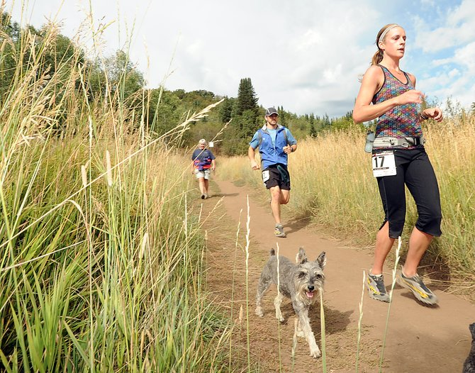 Tanya Yaskoff, right, and Charles Martelli dodge a hiker and her dogs as they run toward the finish line of Saturday's Emerald Mountain Trail Run. The event was the final points-awarding race in the Steamboat Springs Running Series.