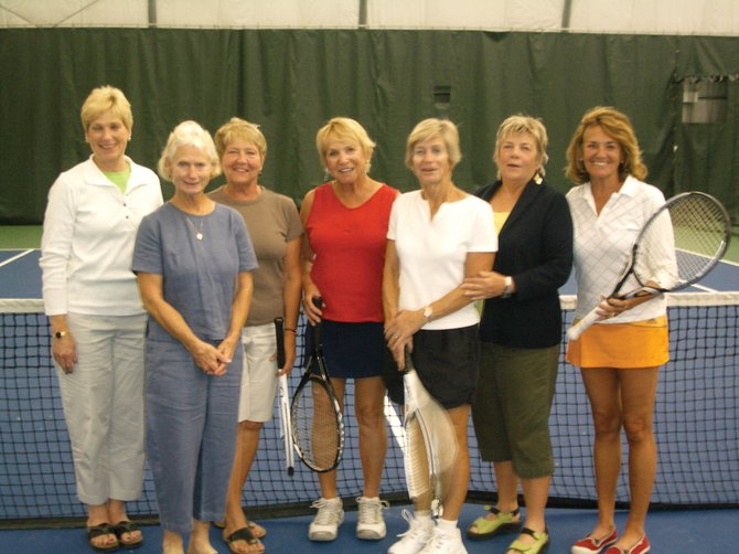 The Steamboat Golden Girls tennis team includes, from left, Marcia Pomietlasz, Marlyn Myers, Roberta Gill, Captain JoAnn Lathrop, Jan McGinnis, Bobbi Beall, Jean Wolf. Karel Snell is not pictured.