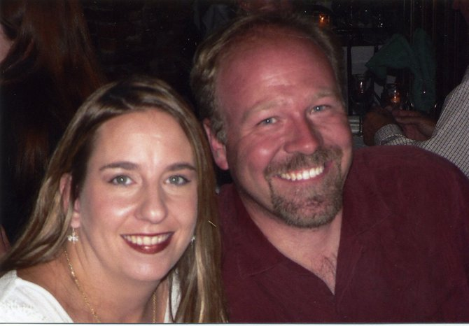 Dustin Dahlin, right, and his wife, Kori. There will be a memorial service held for Dahlin at 3 p.m. Saturday.