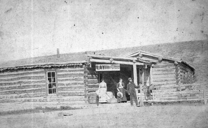 Augusta and A.G. Wallihan are shown, along with an unknown woman, in front of the Lay Colorado Post Office
