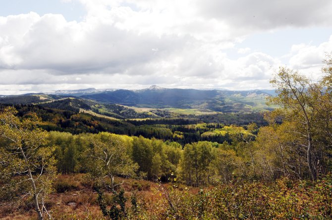 The view from atop Dunckley Pass on the Flat Tops Trail is the best of the 82-mile road that stretches from Yampa to Meeker. Still, there are plenty of other beautiful sites as the aspen trees change from green to orange.