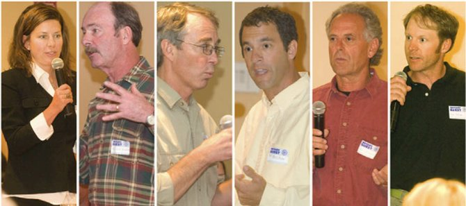 Candidates for Steamboat Springs City Council were split on whether major capital projects should go to a vote at a Tuesday forum hosted by the Steamboat Springs Rotary Club. From left are Cari Hermacinski, Kevin Bennett, Jim Engelken, Kenny Reisman, Ken Solomon and Kyle Pietras.