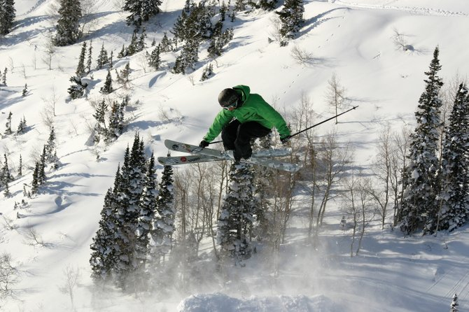 "Filmmaker and Telemark Skier Magazine Editor Josh Madsen skis during the production of his new movie, ""The Freeheel Life."""