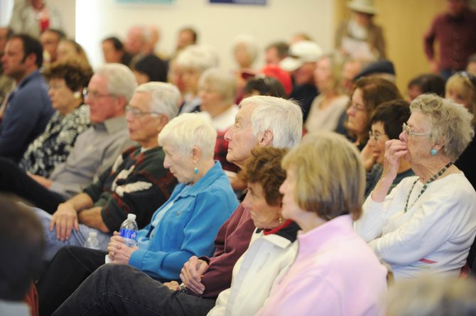 Residents attend Friday's candidates forum at the Steamboat Springs Community Center.