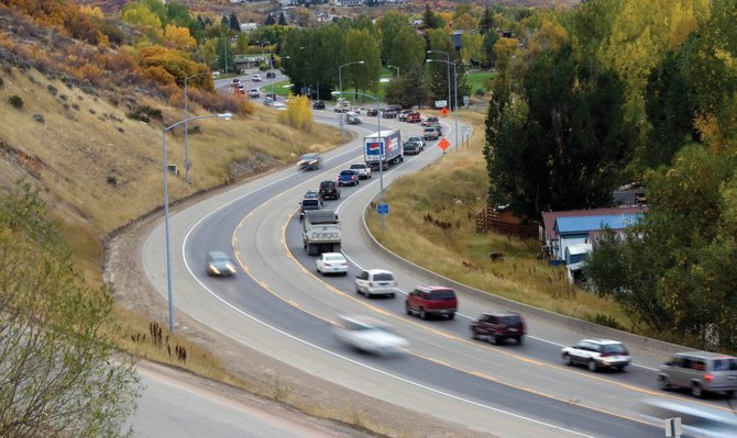 Traffic backs up from 13th Street along U.S. Highway 40 during construction last week. Although several improvements to U.S. 40 would accompany the proposed Steamboat 700 annexation, the 13th Street bottleneck is left relatively unaddressed.