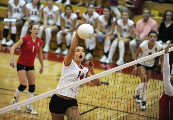 Steamboat Springs High School sophomore Maggie Stanford goes up for a kill during Thursday night's match against Glenwood Springs High School. The Sailors won in 5 games.