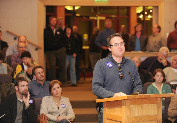 Steamboat 700 Principal and Project Manager Danny Mulcahy addresses members of the Steamboat Springs City Council on Tuesday night after the council voted 4-3 to approve the annexation of the project west of the city.