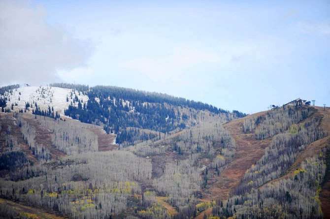 Snow covers Storm Peak at an elevation of 10,372 feet Thursday at Steamboat Ski Area. Despite this modest coverage, one local expert estimates the snow on Buffalo Pass to be as deep as 30 inches.