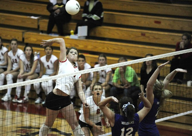 Steamboat Springs High School senior Devin Wilkinson goes up for a kill during Thursday's match against Moffat County High School. The Sailors won in three games.
