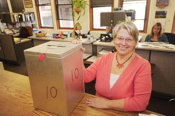 Routt County elections supervisor Vicki Weber shows one of the ballot boxes, which are at the Routt County Clerk and Recorder's Office, Yampa Town Hall, Oak Creek Town Hall, Hayden Town Hall and the Clark Store.