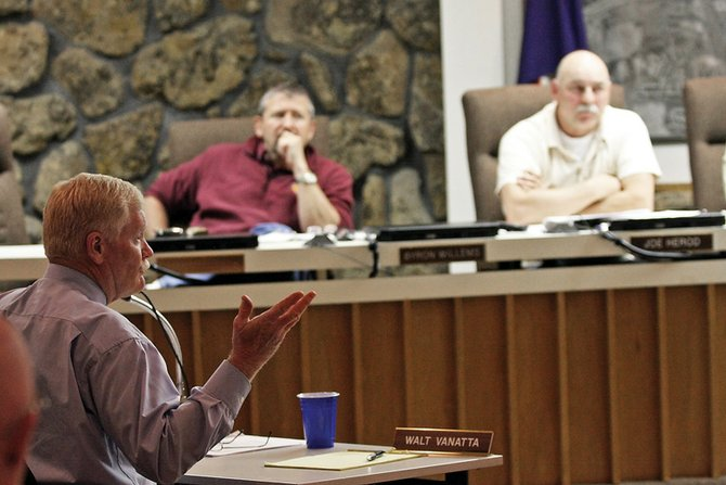 Craig Police Chief Walt Vanatta gives a report to the Craig City Council during a special meeting Tuesday night regarding an internal affairs investigation into alleged misconduct by former police Detective Ken Johnson.