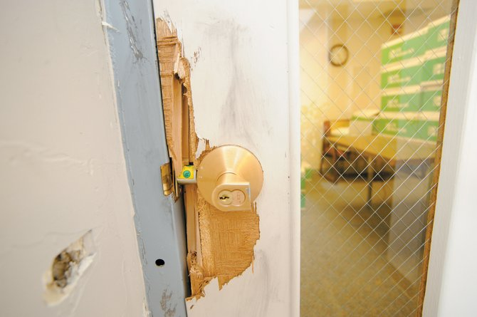 In February, burglars accessed and stole a laptop from Steamboat Springs School District Finance Director Dale Mellor's office by breaking the lock on a conference room door.