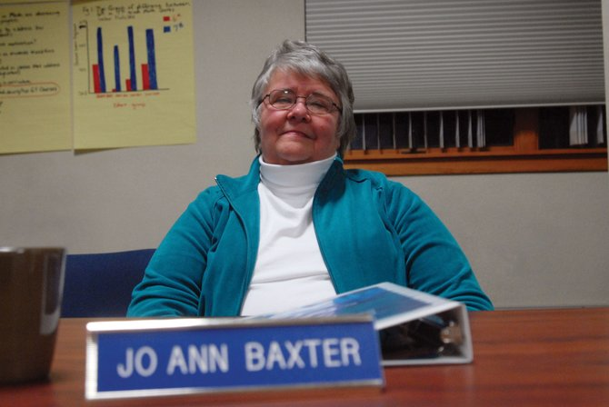 Jo Ann Baxter sits in the chair she has occupied for six years as a member of the Moffat County School Board. Last month, she received the McGuffey Award from the Colorado Association of School Boards for her service.