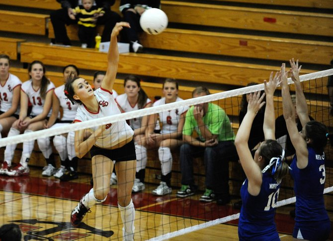 Steamboat Springs High School senior Colleen King goes up for a spike during the Oct. 15 match against Moffat County. Steamboat plays at 6:30 p.m. Thursday at Palisade and at 5:30 p.m. Friday at Delta.