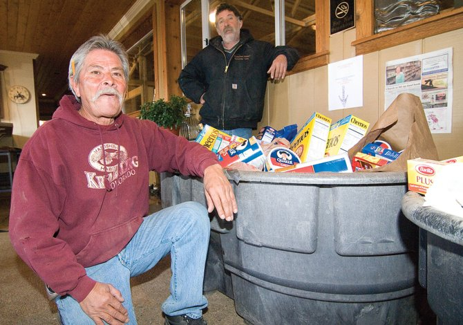 Ron Medina, left, and his brother Victor Medina have led a food drive at the Sidney Peak Ranch after being inspired by efforts at the Steamboat Christian Center to raise a ton of food for LIFT-UP of Routt County.