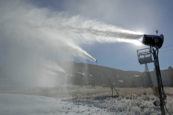 Snow guns blast the lower trails of Steamboat Ski Area on Monday morning, the first day of artificial snowmaking for the 2009-10 ski season. Mother Nature is expected to help out this week, with a 70 percent chance of snow Wednesday.